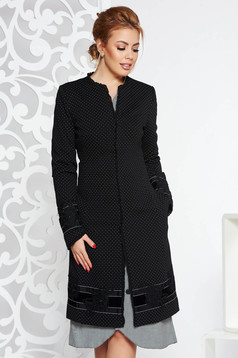 LaDonna black elegant trenchcoat arched cut slightly elastic fabric with embroidery details