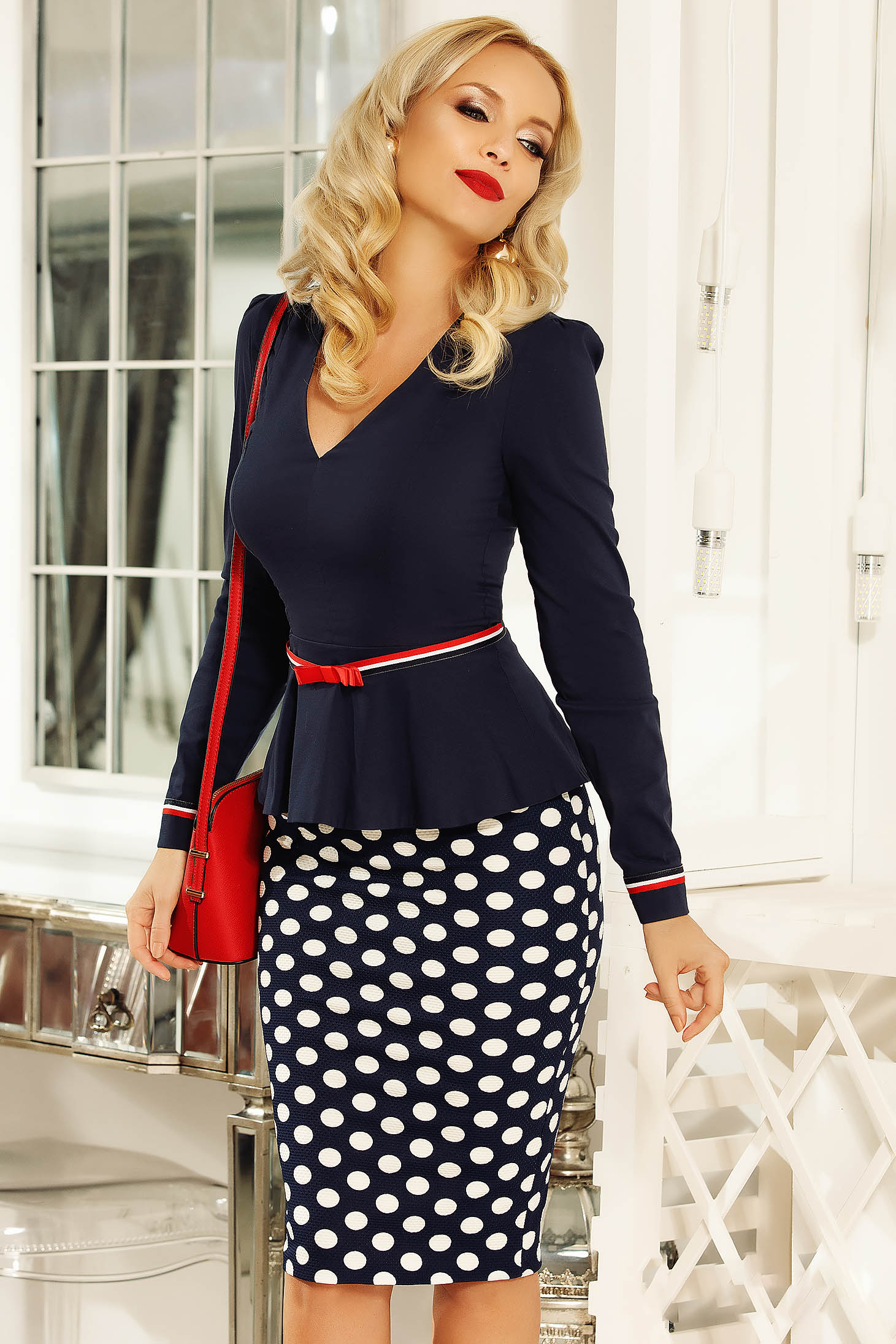 Fofy darkblue office skirt with tented cut from elastic fabric with dots print