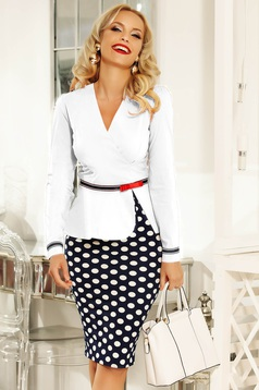 Fofy white office women`s shirt with tented cut slightly elastic cotton accessorized with tied waistband
