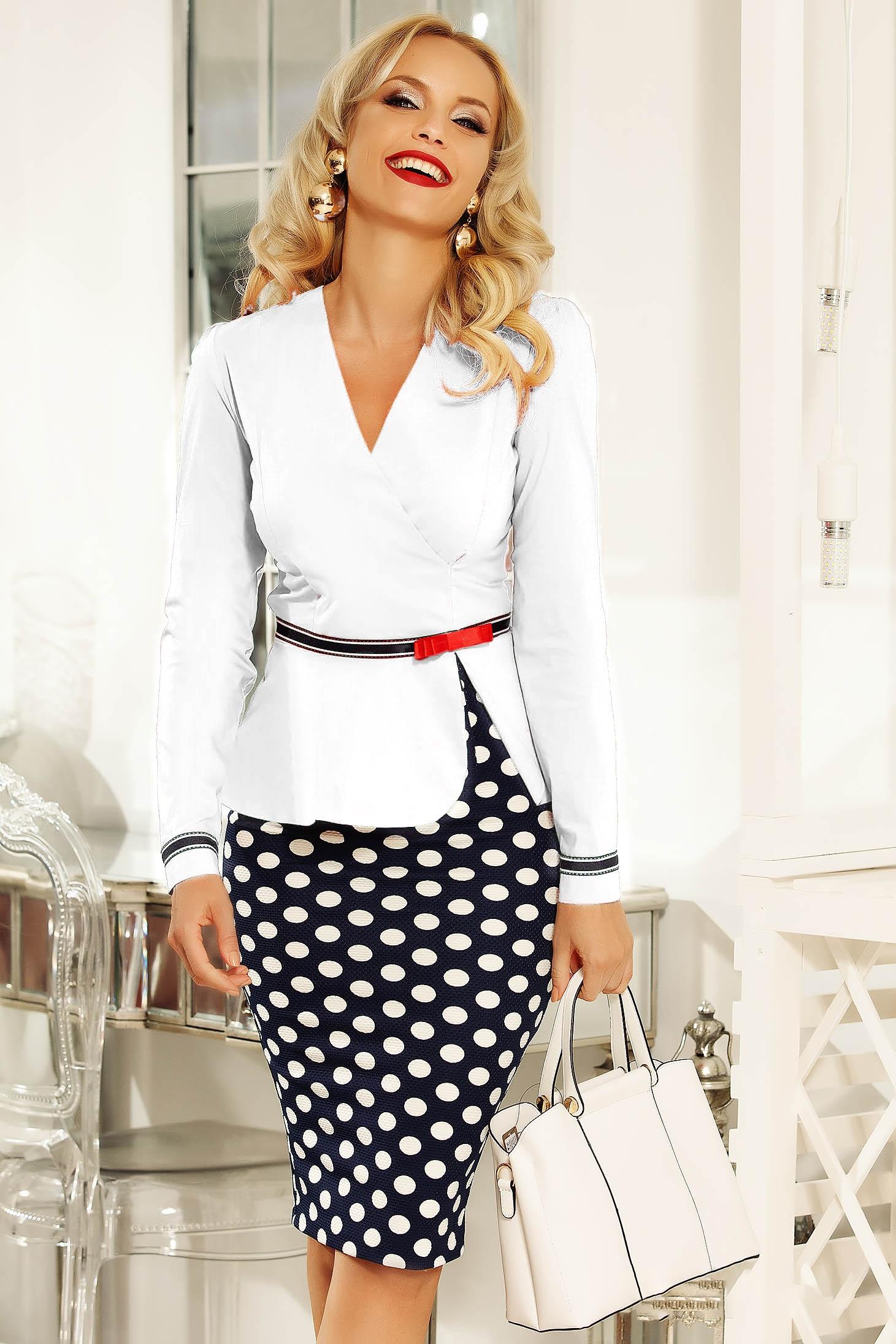 Fehér Fofy irodai női ing szűk szabás enyhén elasztikus pamut övvel ellátva