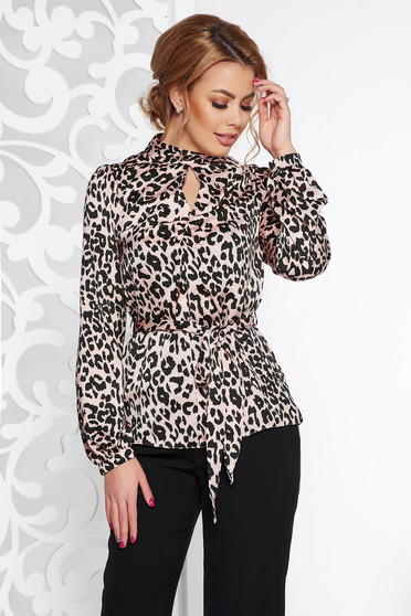 Rosa women`s blouse accessorized with tied waistband with easy cut from satin fabric texture
