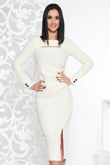 Nude elegant midi pencil dress long sleeved from elastic fabric