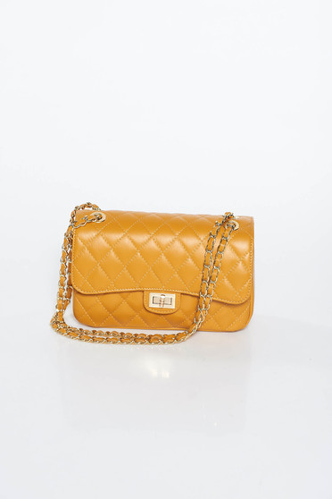Mustard bag natural leather long chain handle