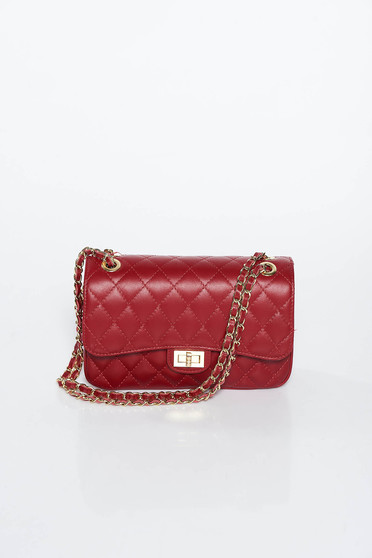 Burgundy bag natural leather long chain handle