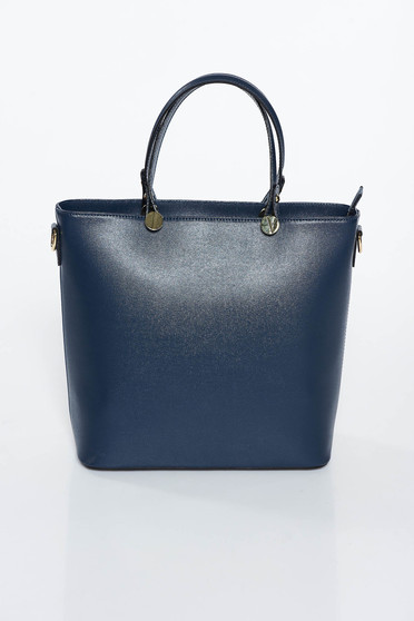 Darkblue office bag natural leather long, adjustable handle
