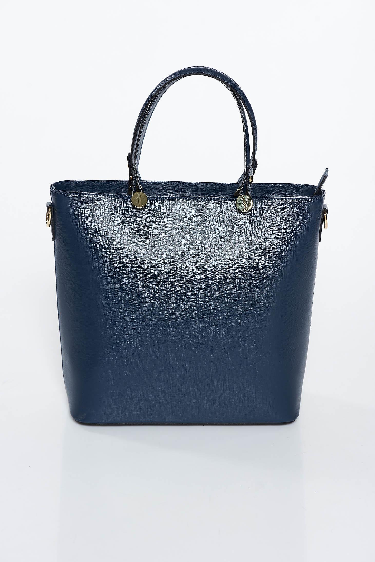 Darkblue office bag natural leather long, adjustable handle