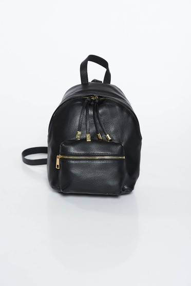 Black casual backpacks natural leather with metal accessories