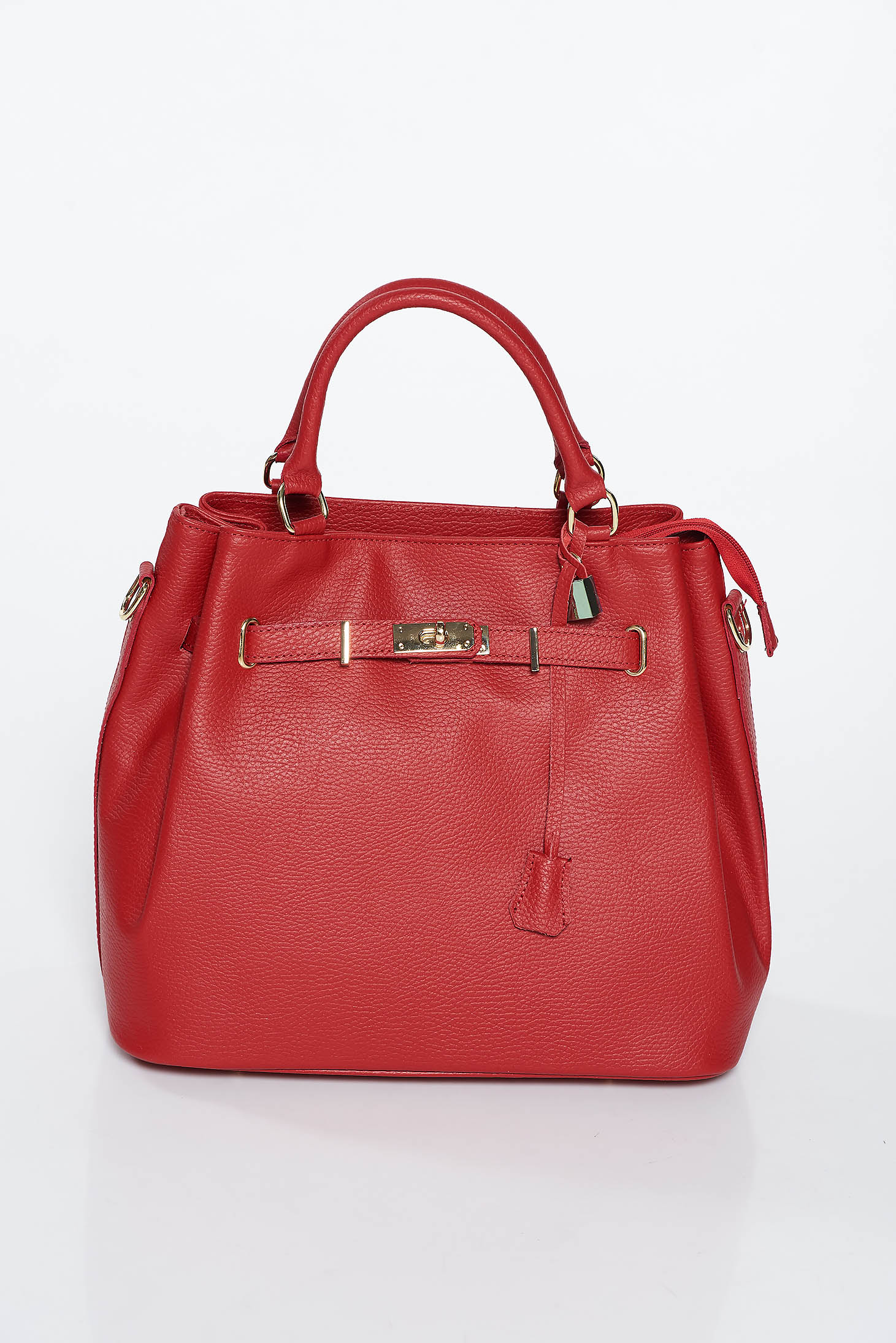Burgundy office bag short grab handles and single long detachable handle