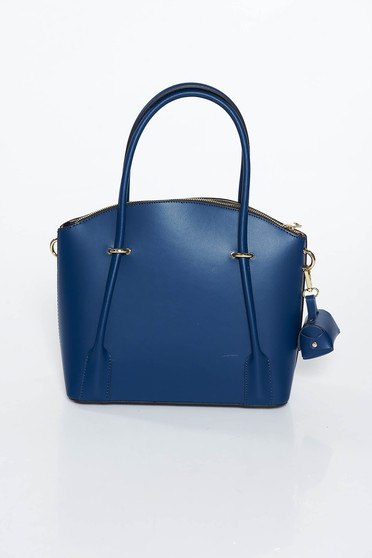 Darkblue natural leather office bag with two compartments and inside pockets