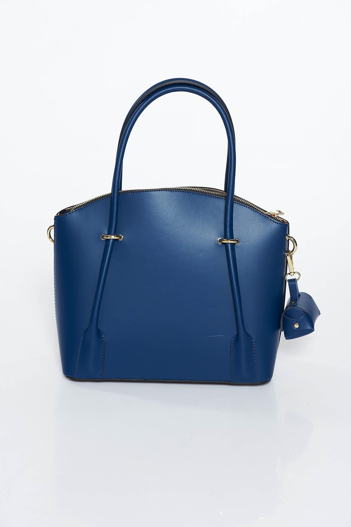 Geanta dama albastru-inchis office din piele naturala cu doua compartimente si buzunare interioare