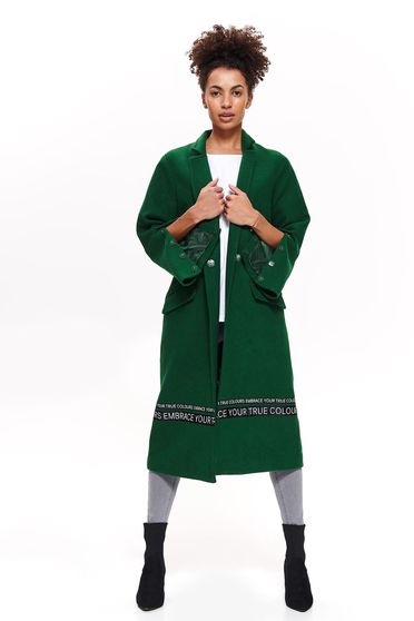 Top Secret green casual flared coat from non elastic fabric