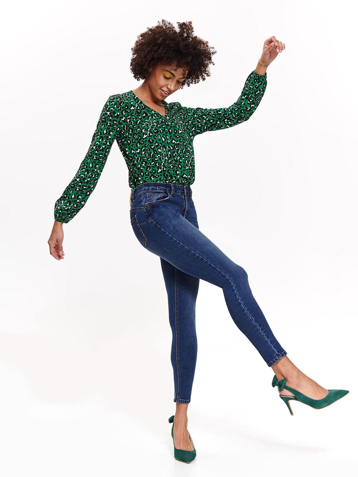 Bluza dama Top Secret verde casual cu croi larg cu decolteu cu maneca lunga din material vaporos