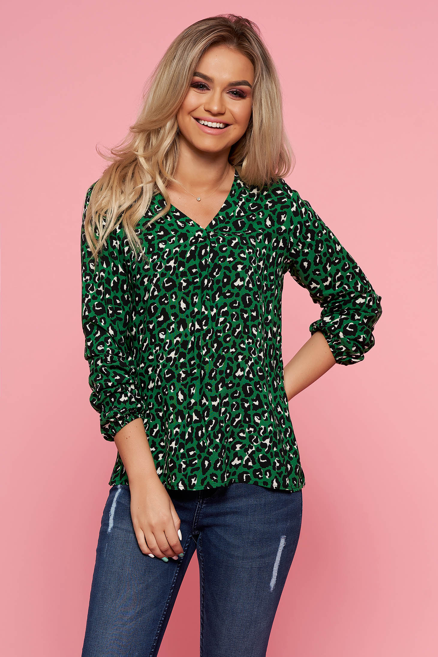 Top Secret green casual flared women`s blouse with a cleavage long sleeve airy fabric