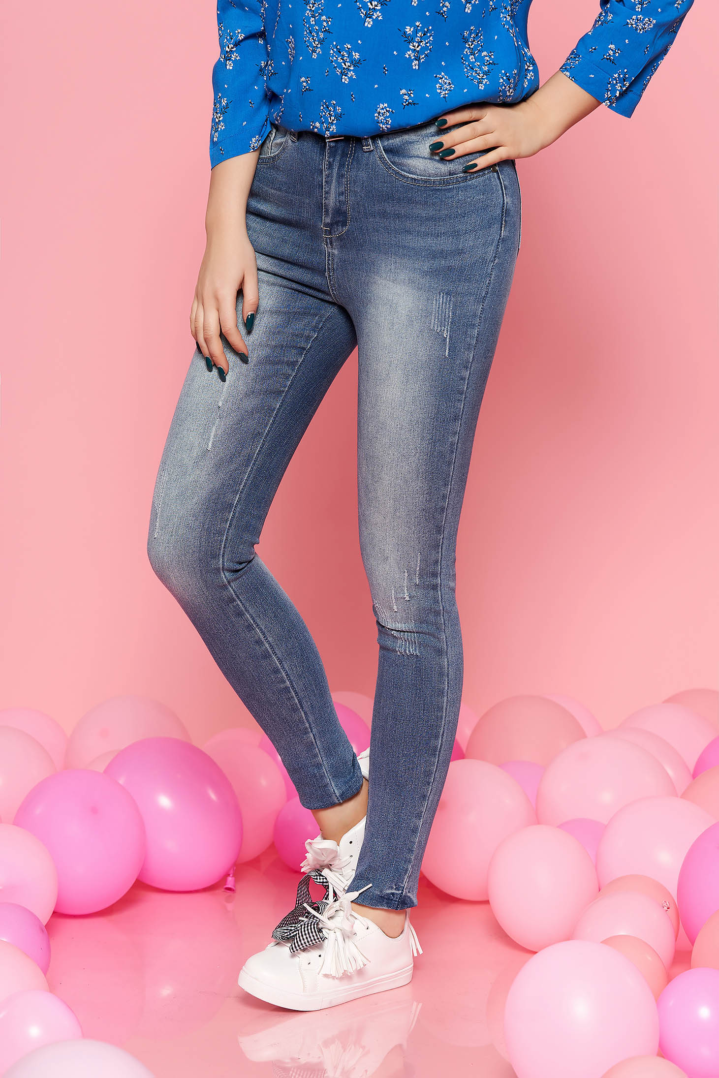 Top Secret blue casual trousers with medium waist slightly elastic cotton with tented cut
