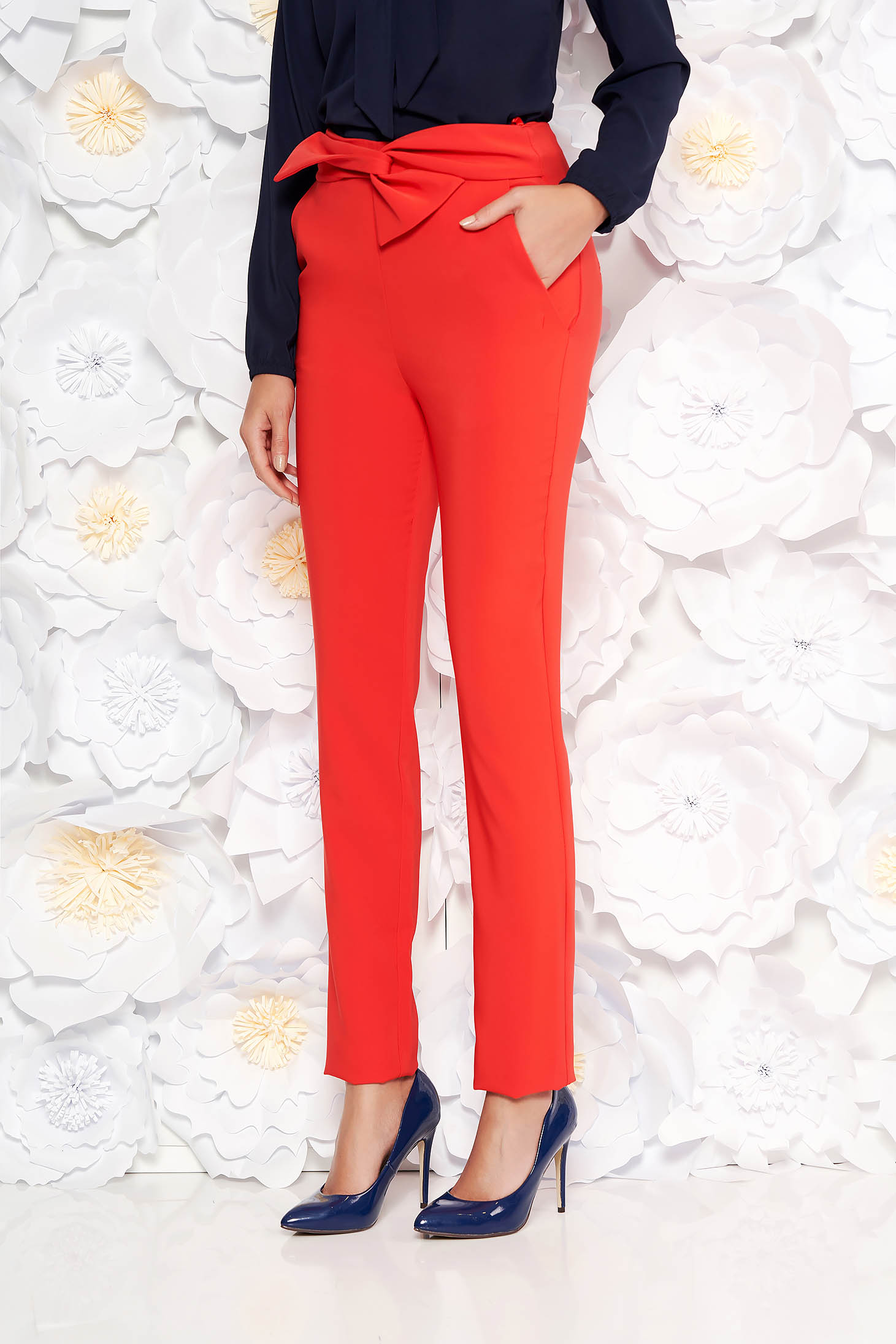 LaDonna coral office high waisted trousers slightly elastic fabric with pockets