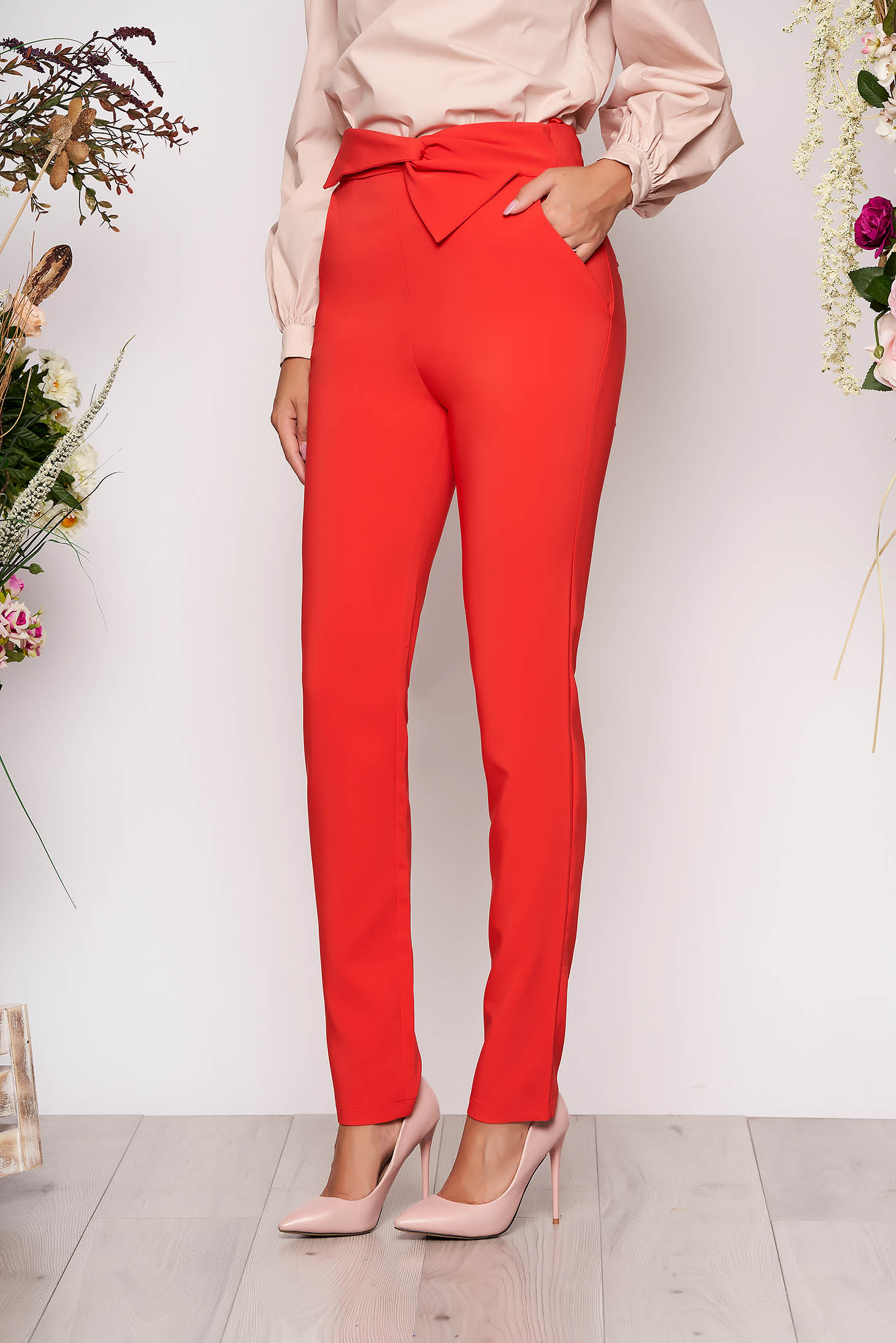 Pantaloni LaDonna corai office cu talie inalta din stofa usor elastica cu buzunare