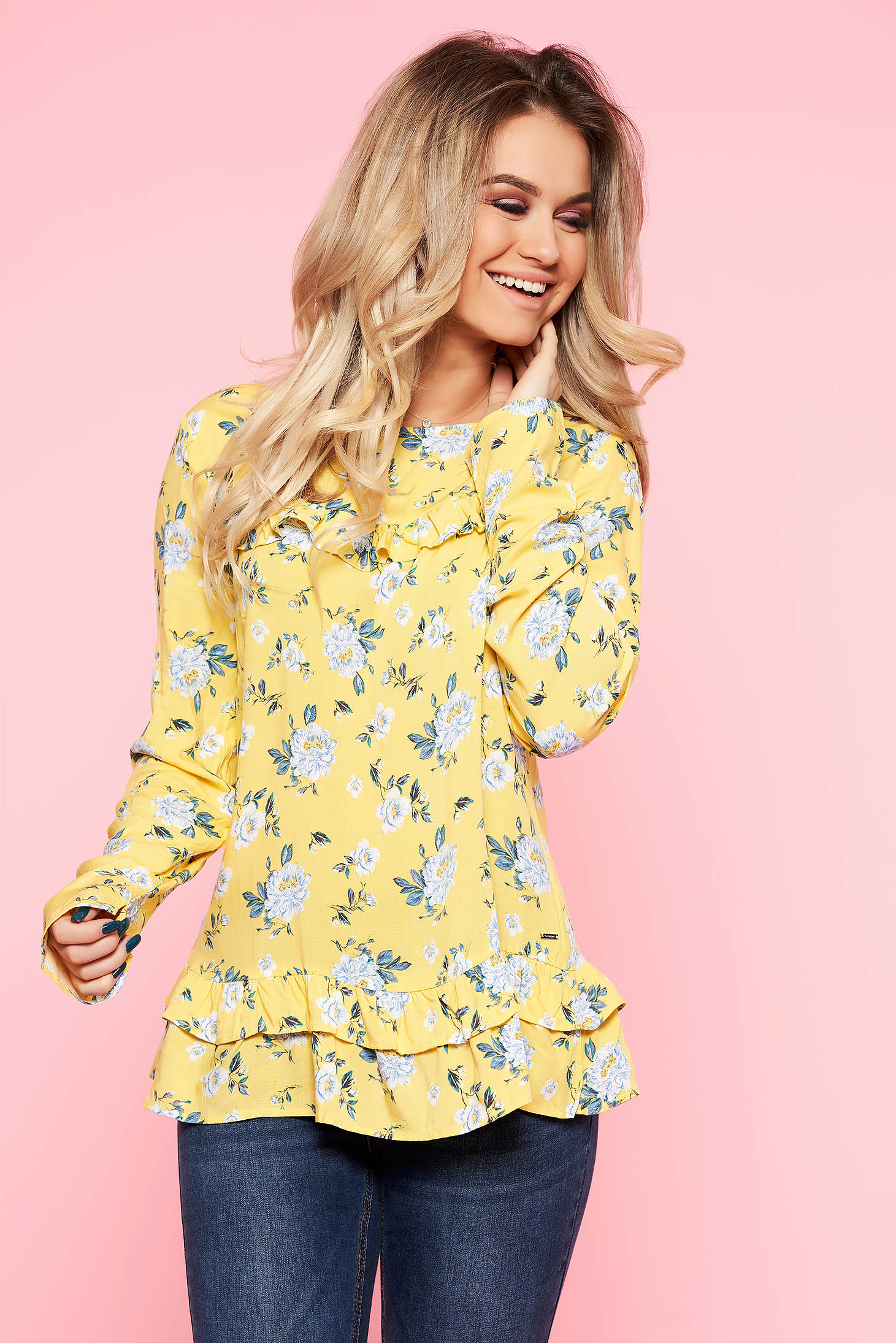 Top Secret yellow casual flared women`s blouse airy fabric with floral print with ruffle details