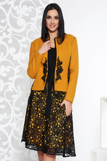 LaDonna mustard elegant lady set from 2 pieces with embroidery details long sleeved