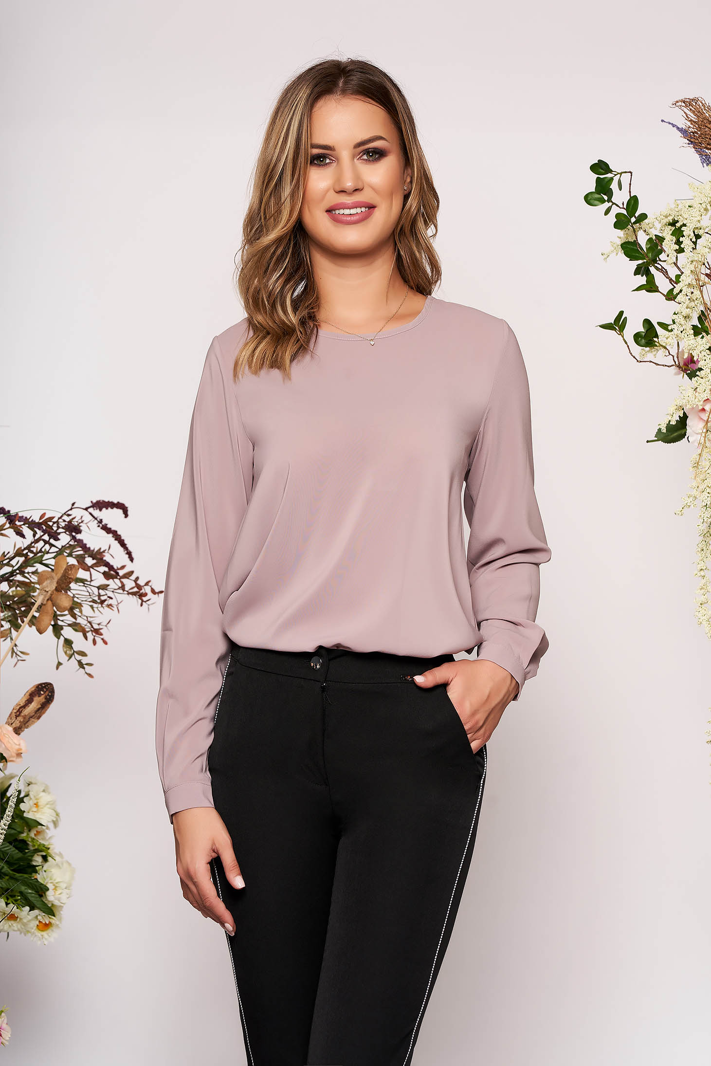 StarShinerS lila office flared women`s blouse from veil fabric long sleeved