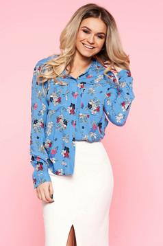 Top Secret blue casual flared women`s shirt long sleeved airy fabric with floral print