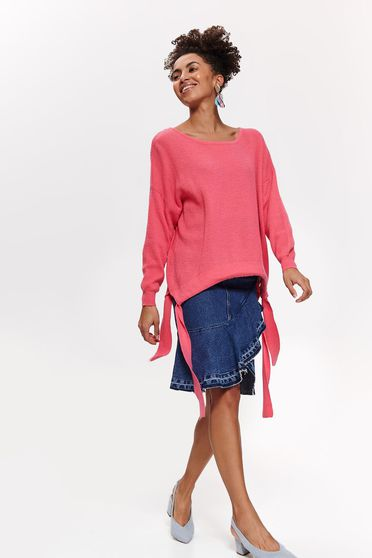 Top Secret pink casual flared sweater knitted fabric