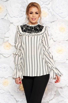 LaDonna white women`s blouse with easy cut long sleeved with lace details
