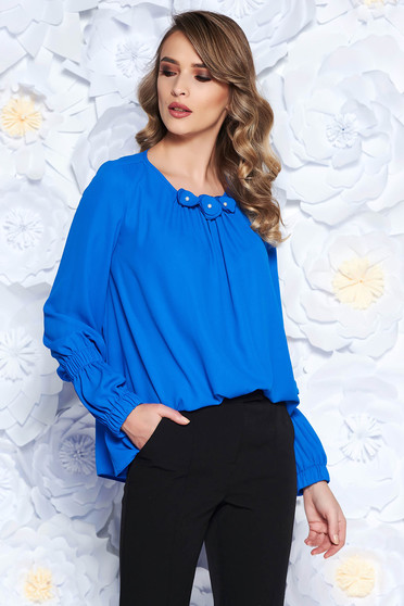 LaDonna blue office flared women`s blouse from veil with floral details with inside lining