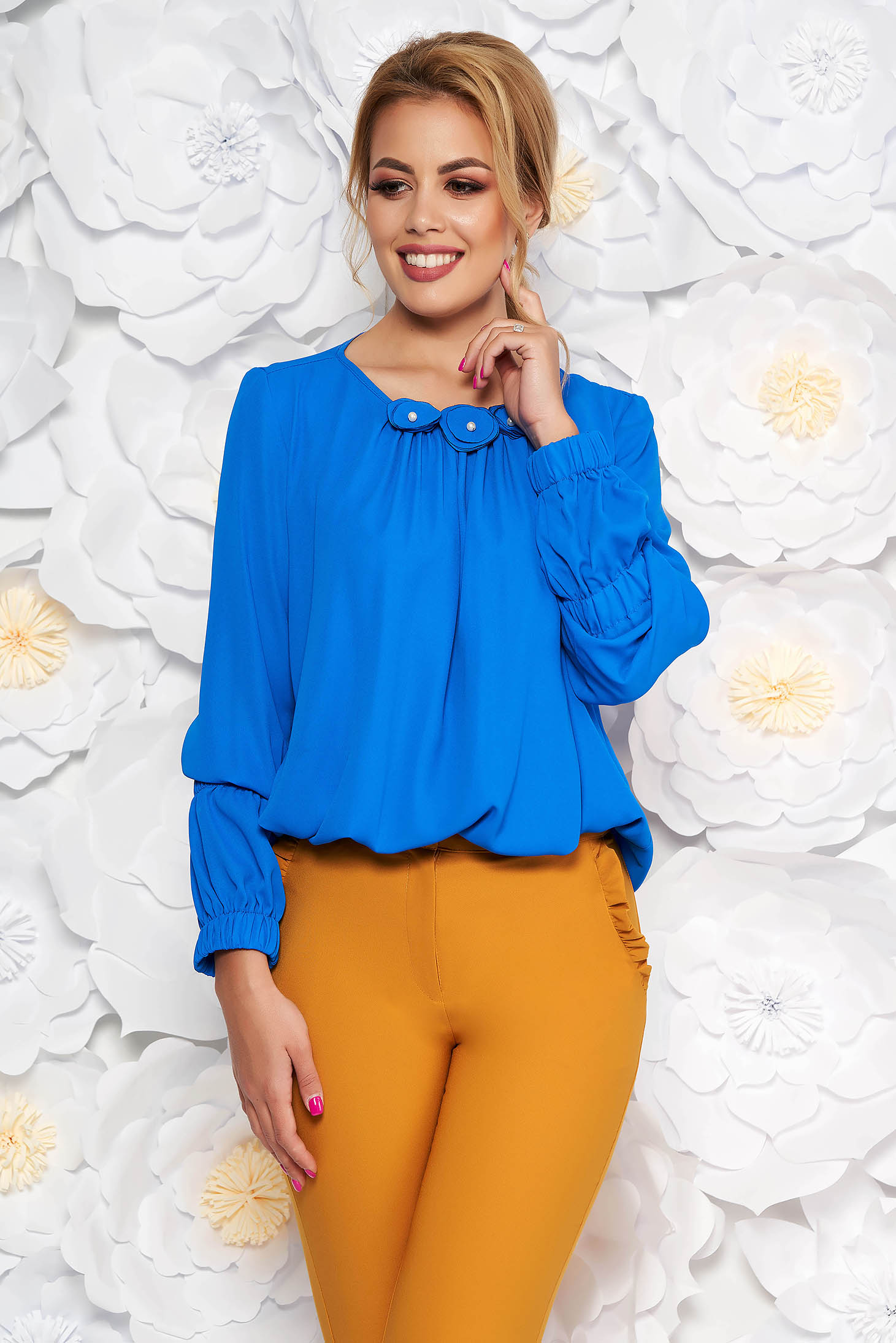 42d54a4b3ceeee LaDonna blue office flared women`s blouse from veil with floral details ...