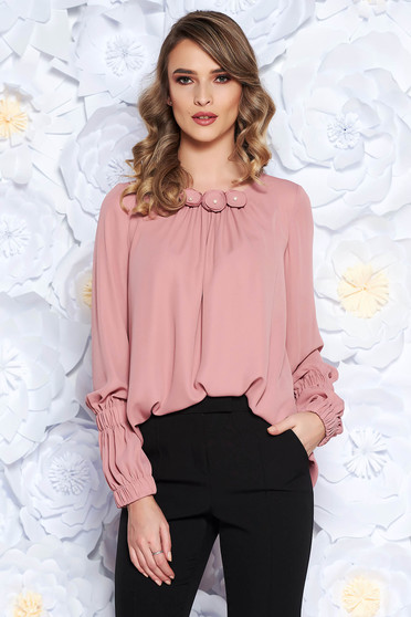 LaDonna rosa office flared women`s blouse from veil with floral details with inside lining