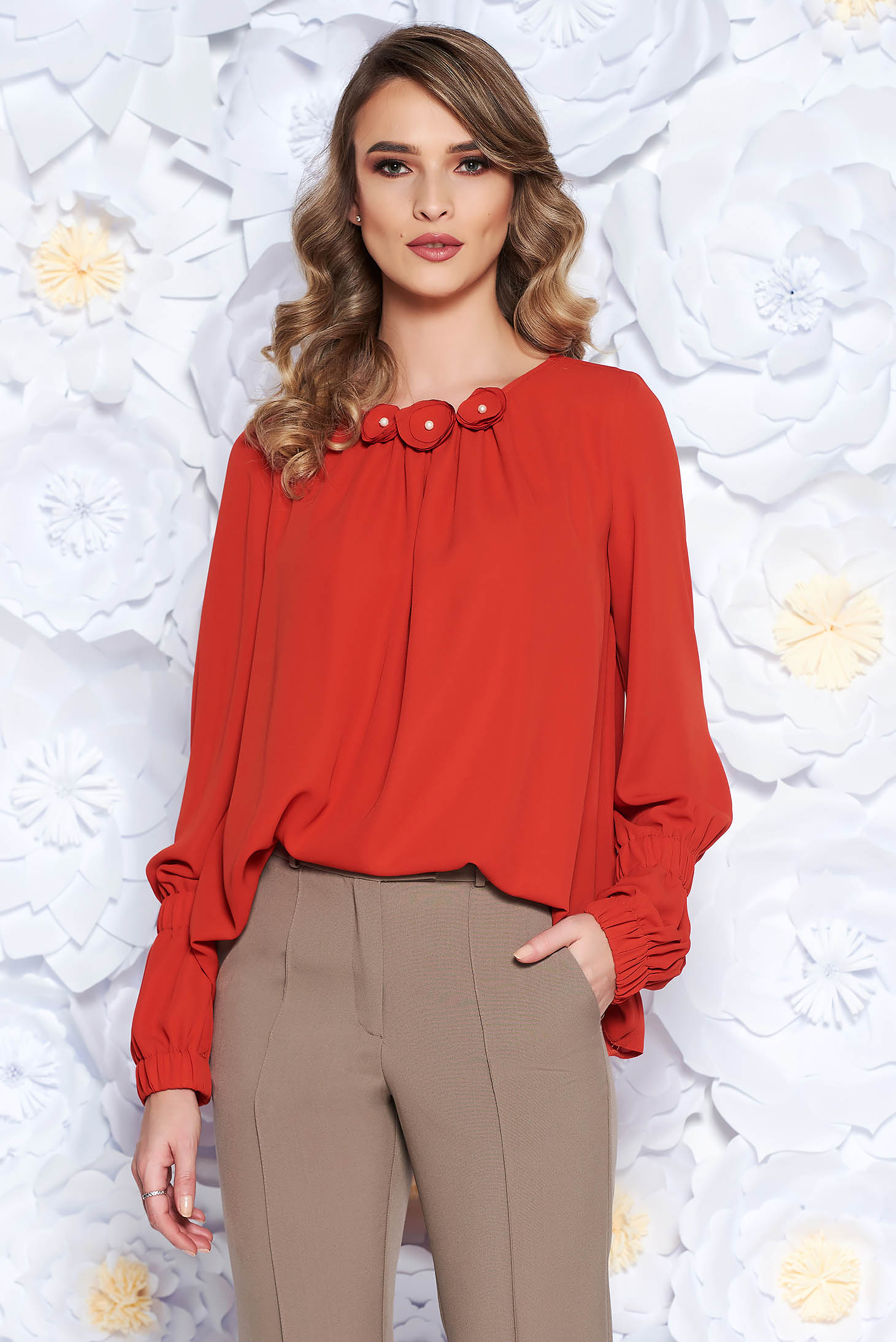 LaDonna bricky office flared women`s blouse from veil with floral details with inside lining