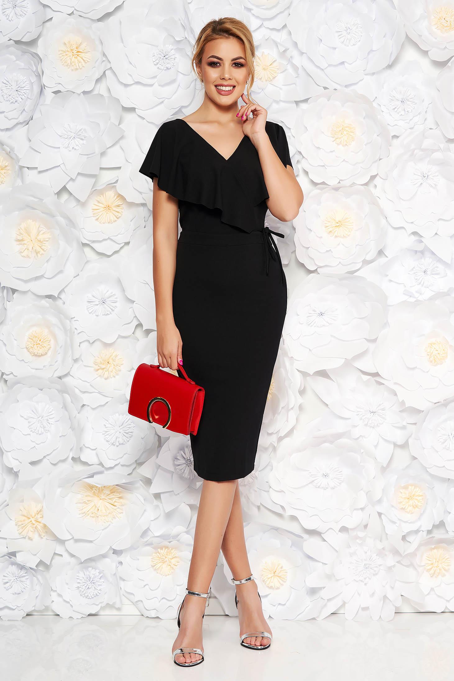 StarShinerS black elegant pencil dress from elastic fabric with v-neckline