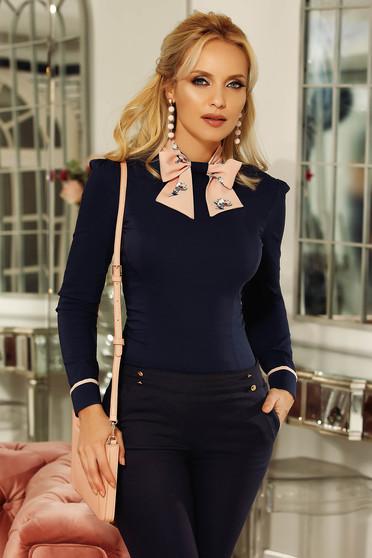 Fofy darkblue office women`s shirt arched cut slightly elastic cotton