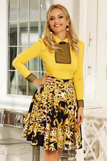 Fofy black elegant cloche skirt slightly elastic fabric high waisted with pockets