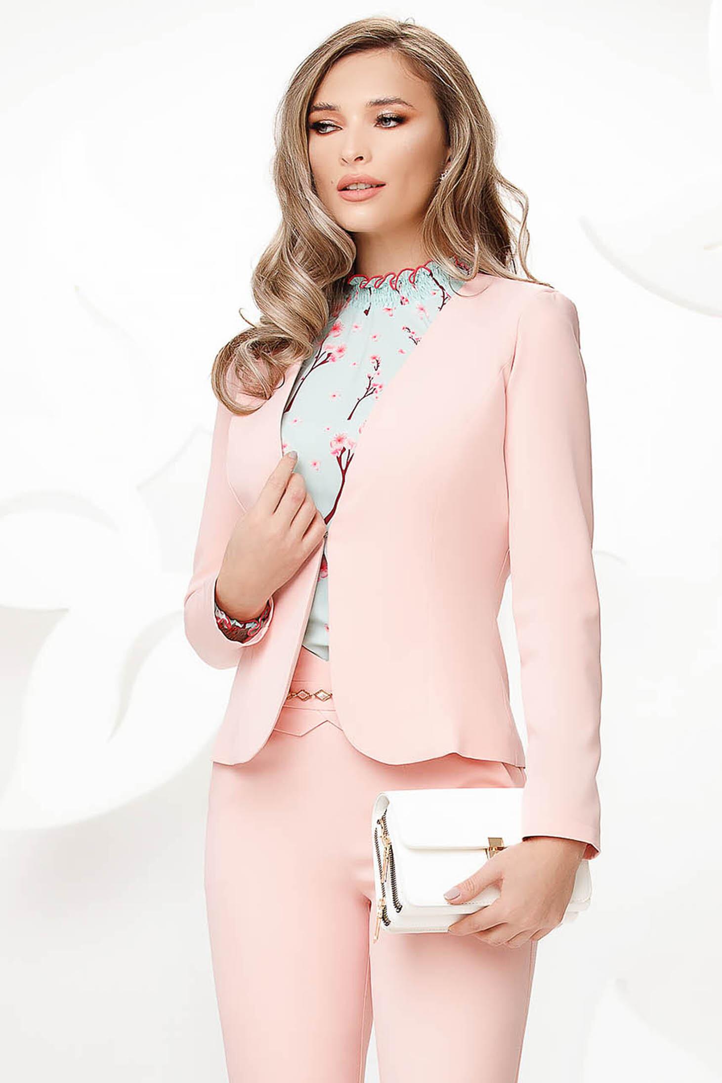 Sacou Fofy roz deschis office cambrat din stofa usor elastica cu umerii buretati