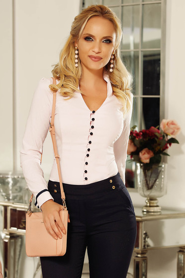 Fofy lightpink office women`s shirt slightly elastic cotton arched cut with v-neckline