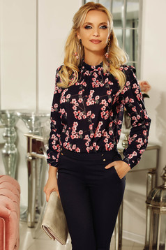 Fofy rosa elegant flared women`s blouse voile fabric with floral prints