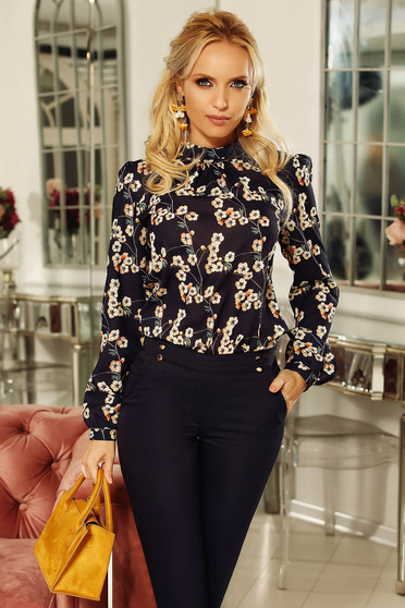 Fofy cream elegant flared women`s blouse voile fabric with floral prints