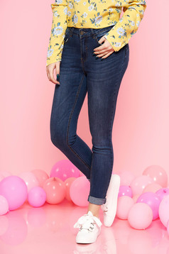 Top Secret blue casual trousers with medium waist slightly elastic cotton