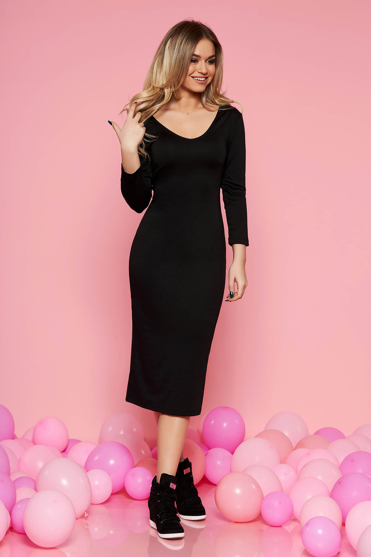 Top Secret black basic midi pencil dress airy fabric with 3/4 sleeves