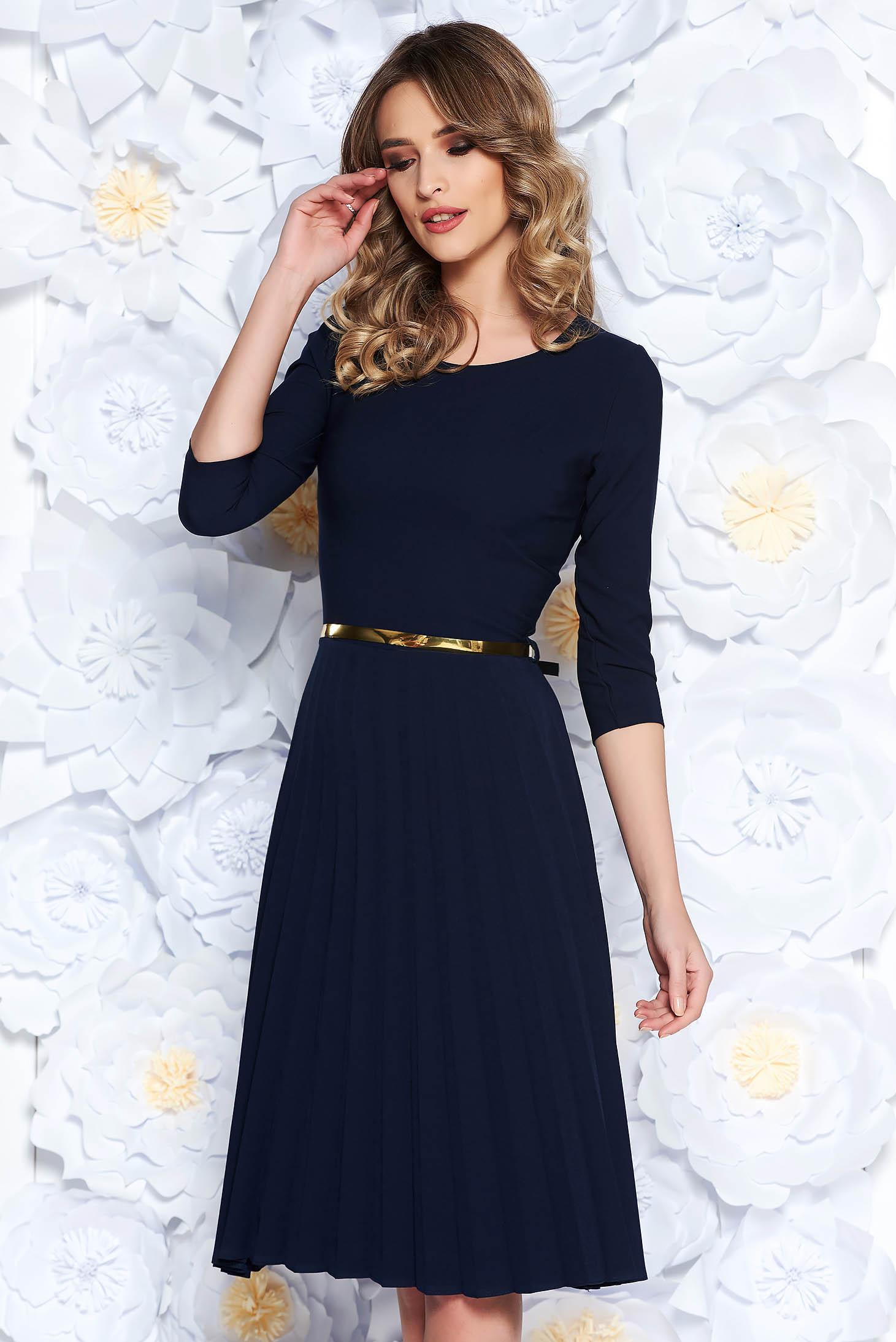Darkblue elegant folded up cloche dress flexible thin fabric/cloth accessorized with belt