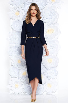 Darkblue elegant dress slightly elastic fabric with inside lining accessorized with belt