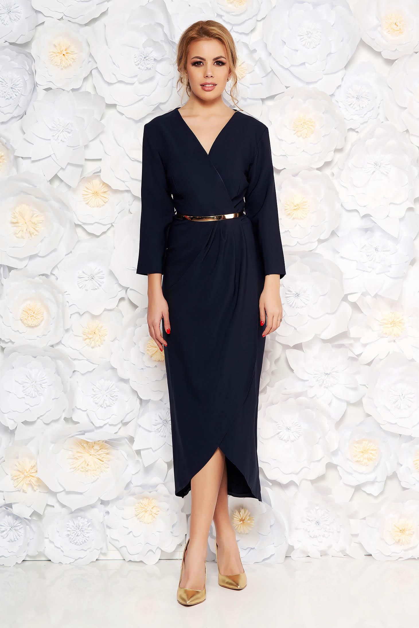 Rochie albastra-inchis eleganta din stofa subtire usor elastica captusita pe interior cu accesoriu tip curea