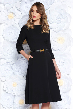 Black office cloche dress slightly elastic cotton with pockets accessorized with belt