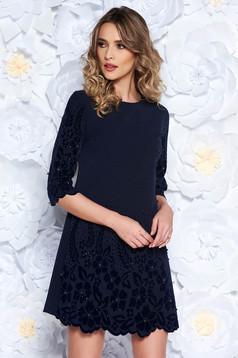 Darkblue dress straight elegant slightly elastic fabric with pearls