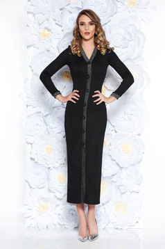 Black dress clubbing slightly elastic fabric with inside lining with tented cut