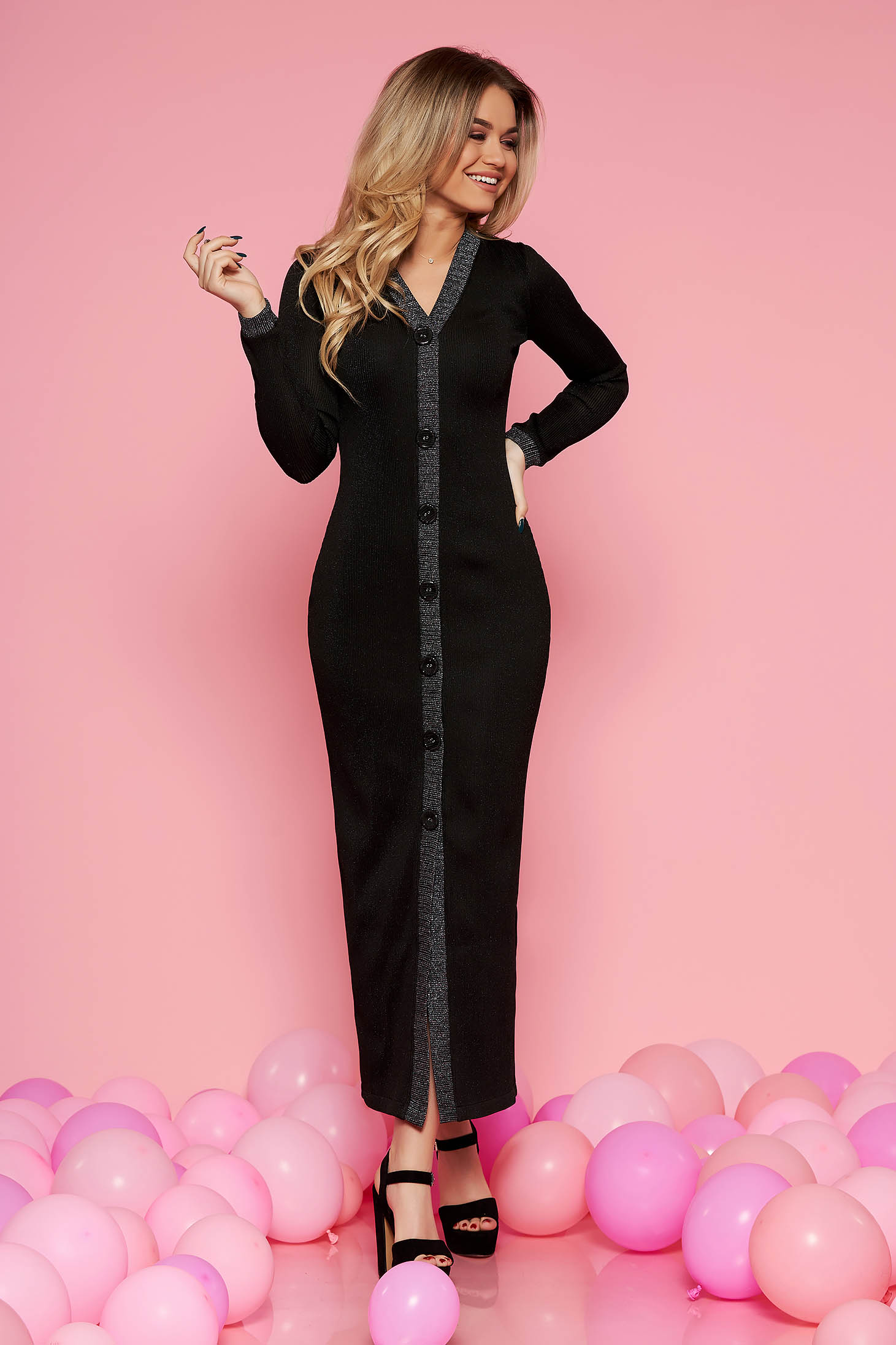 Black clubbing dress slightly elastic fabric with inside lining with tented cut