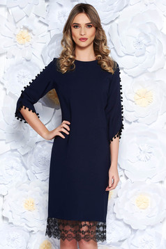 Darkblue elegant flared dress slightly elastic fabric with lace details with tassels