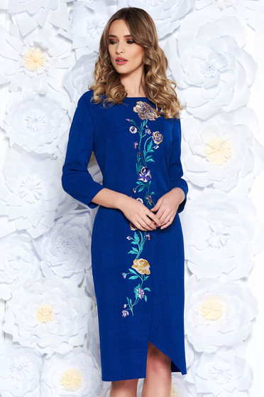 Blue elegant flared dress slightly elastic fabric with embroidery details