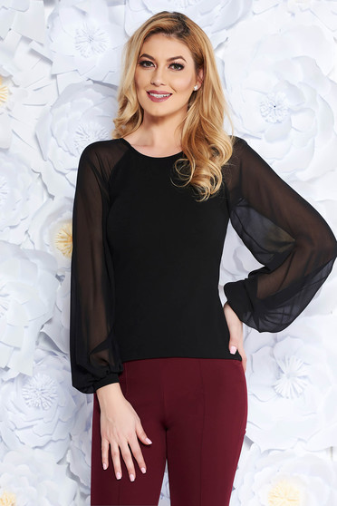 StarShinerS black women`s blouse elegant slightly elastic fabric with veil sleeves with tented cut