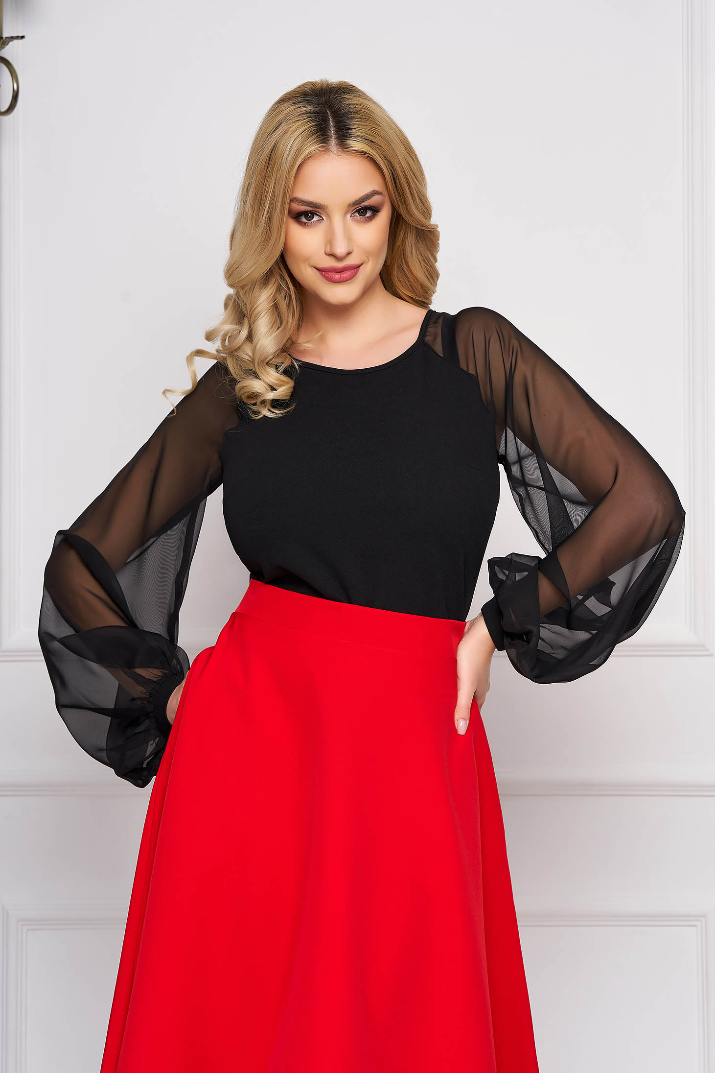 StarShinerS black elegant women`s blouse slightly elastic fabric with veil sleeves with tented cut
